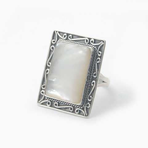 bali unique silver shell ring