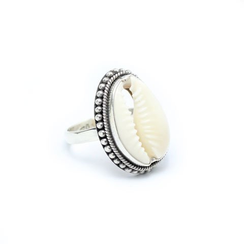 Cowrie ring silver jewelry