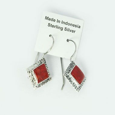 red coral earring bali silver jewelry