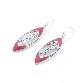 bali red coral earing silver jewelry